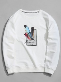Feather Graphic Crew Neck Sweatshirt - White Xl