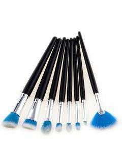 8Pcs Multipurpose Two Tone Hair Beauty Makeup Brushes - Blue And White