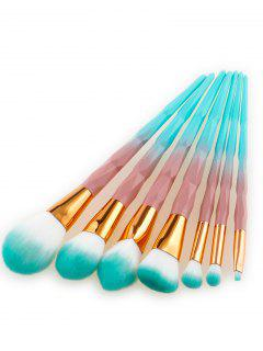 Diamond Shape Handle Ombre Hair Makeup Brushes Set - Green