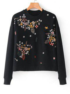 Drop Shoulder Floral Embroidere Sweatshirt - Black M
