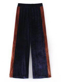 Two Tone Velvet Wide Leg Pants - Purplish Blue M