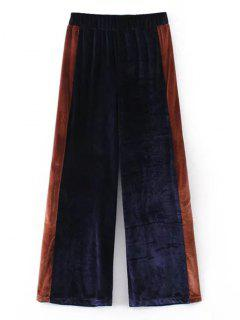 Two Tone Velvet Wide Leg Pants - Purplish Blue S