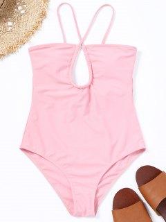 Kreuzmuster Ausschnitt Badeanzug - Pink S