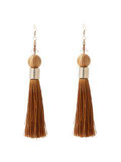 Faux Crystal Tassel Ball Hook Earrings - Brown