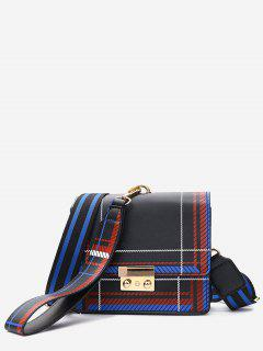 Plaid Color Block Handbag - Black