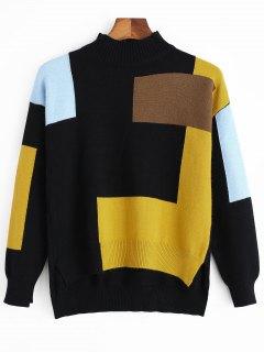 Contrast Side Slit High Low Sweater - Black