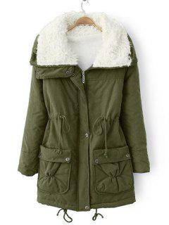 Faux Pockets Zip Up Shearling Coat - Army Green M