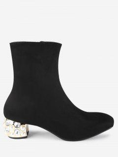 Faux Pearl Chunky Heel Boots - Black 35