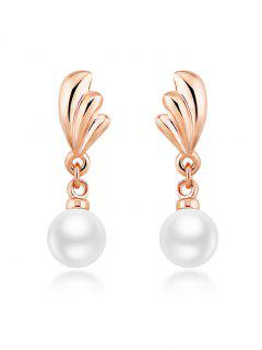 Faux Pearl Wings Stud Drop Earrings - Rose Gold