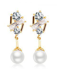 Faux Crystal Inlay Drop Earrings - Golden