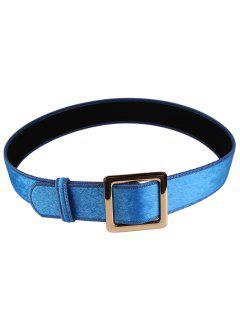 Metal Square Buckle Embellished Faux Suede Waist Belt - Blue