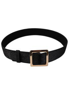Metal Square Buckle Embellished Faux Suede Waist Belt - Black
