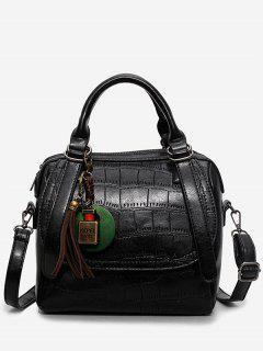 Embossed PU Leather Handbag With Strap - Black