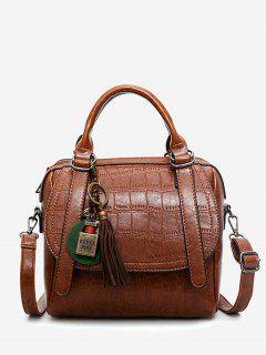 Embossed PU Leather Handbag With Strap - Brown