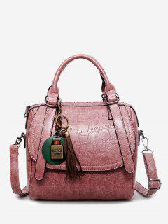 Embossed PU Leather Handbag With Strap - Pink
