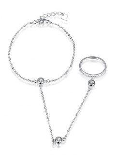 Rhinestone Slave Chain Bracelet - White + Gold