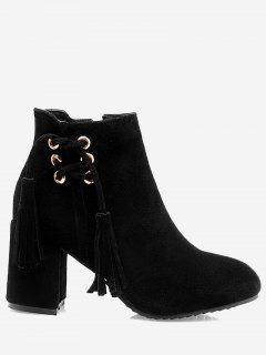 Chunky Heel Tassels Ankle Boots - Black 36