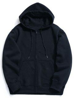 Fleece Kangaroo Pocket Zip Hoodie - Cadetblue M