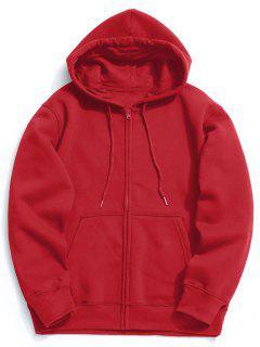 Fleece Kangaroo Pocket Zip Hoodie - Bright Red M