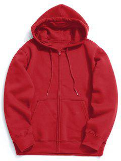 Fleece Kangaroo Pocket Zip Hoodie - Bright Red S