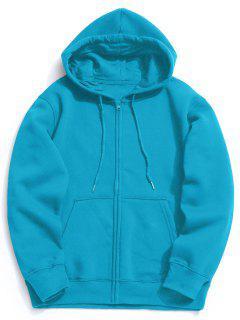 Fleece Kangaroo Pocket Zip Hoodie - Lake Blue S