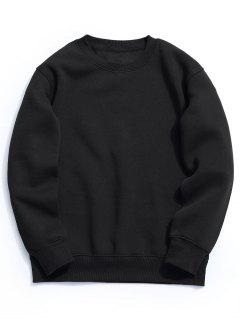 Fleece Mens Crew Neck Sweatshirt - Black S