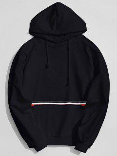 Kangaroo Pocket Striped Hoodie - Black L