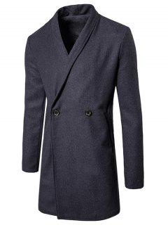 Two Button Shawl Collar Wool Blend Coat - Gray M