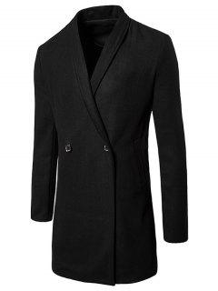 Two Button Shawl Collar Wool Blend Coat - Black Xl