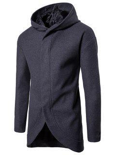 Manteau à Capuche à épaules Tombantes à Boutons-Pression En Laine Mélangée - Gris Foncé 2xl