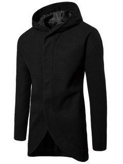 Drop Shoulder Snap Button Hooded Wool Blend Coat - Black L