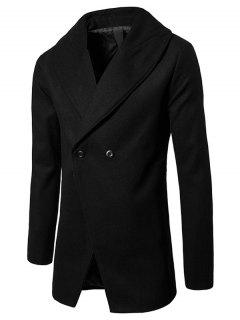 Convertible Butoon Shawl Collar Wool Blend Coat - Black 2xl