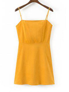 Back Zip Slip Corduroy Mini Dress - Mustard L