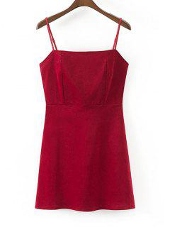 Back Zip Slip Corduroy Mini Dress - Wine Red L