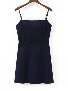 Back Zip Slip Corduroy Mini Dress - Cadetblue L