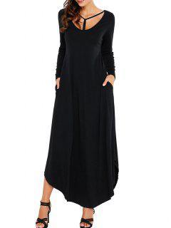 Long Sleeve Scoop Neck Ankle Length Dress - Black Xl