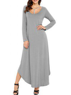 Long Sleeve Scoop Neck Ankle Length Dress - Gray S