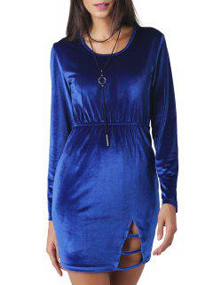 Cut Out Velvet Mini Bodycon Dress - Royal 2xl