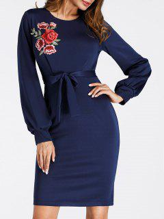 Puff Sleeve Embroidered Mini Bodycon Dress - Deep Blue Xl