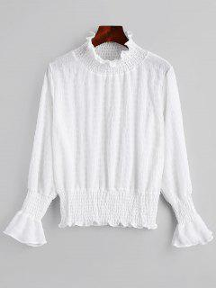 Flare Sleeve Smocked Ruffle Neck Blouse - White Xl