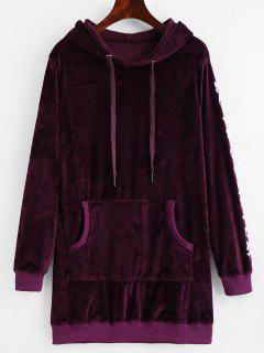 Letter Graphic Velvet Kangaroo Pocket Hoodie - Deep Purple M