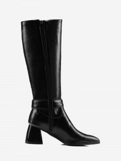 Buckle Strap Pointed Toe Knee High Boots - Black 36