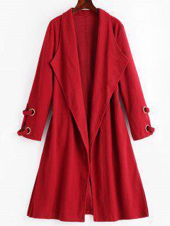 Side Slit Draped Belted Coat - Deep Red L