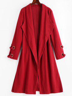 Side Slit Draped Belted Coat - Deep Red Xl