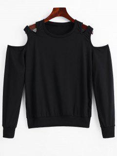 Herausgeschnittene Kalte Schulter T-Shirt - Schwarz Xl