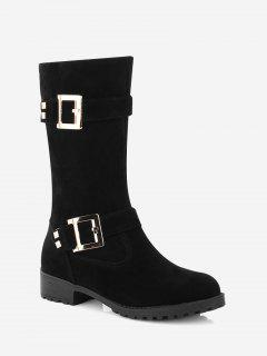 Buckle Strap Low Heel Mid Calf Boots - Black 38