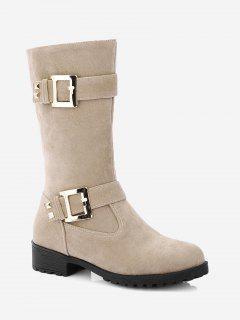 Buckle Strap Low Heel Mid Calf Boots - Beige 36