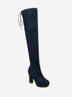Tie Back Chunky Heel Thigh High Boots - Blue 36
