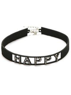 Rhinestone Faux Leather Happy Choker Necklace - Black
