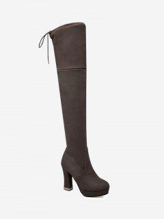 Tie Back Chunky Heel Thigh High Boots - Brown 36